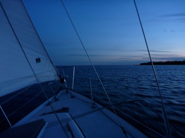 Night sailing lake Ontario